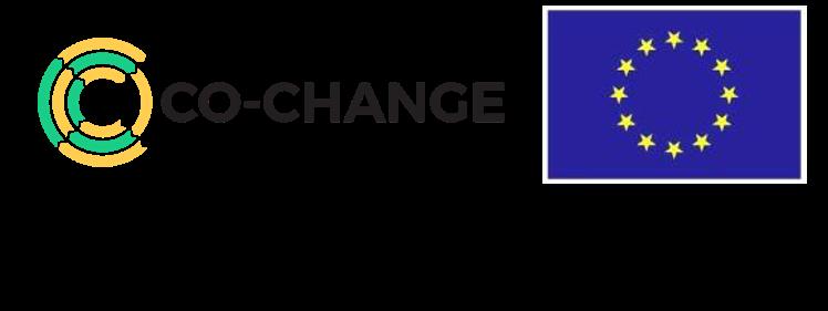 Co-change-hankkeen logo, jossa EU -lippu sekä teksti, että hanke on rahoitettu Horisontti2020-ohjelmasta